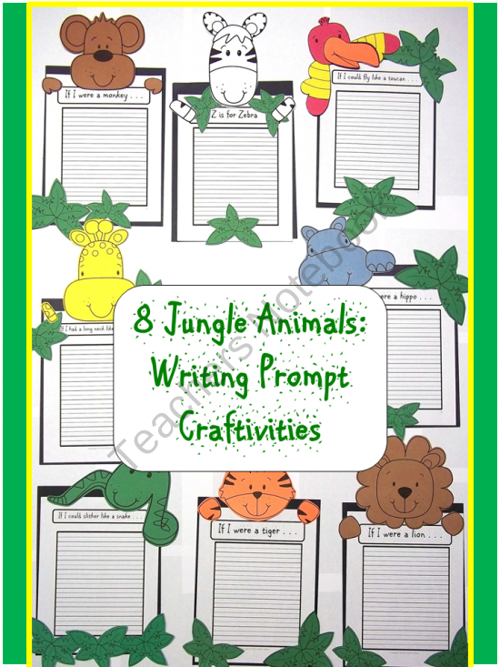 Writing Prompt Craftivities: Zoo and Jungle Animals from Sweet Tea Classroom on TeachersNotebook.com (114 pages)