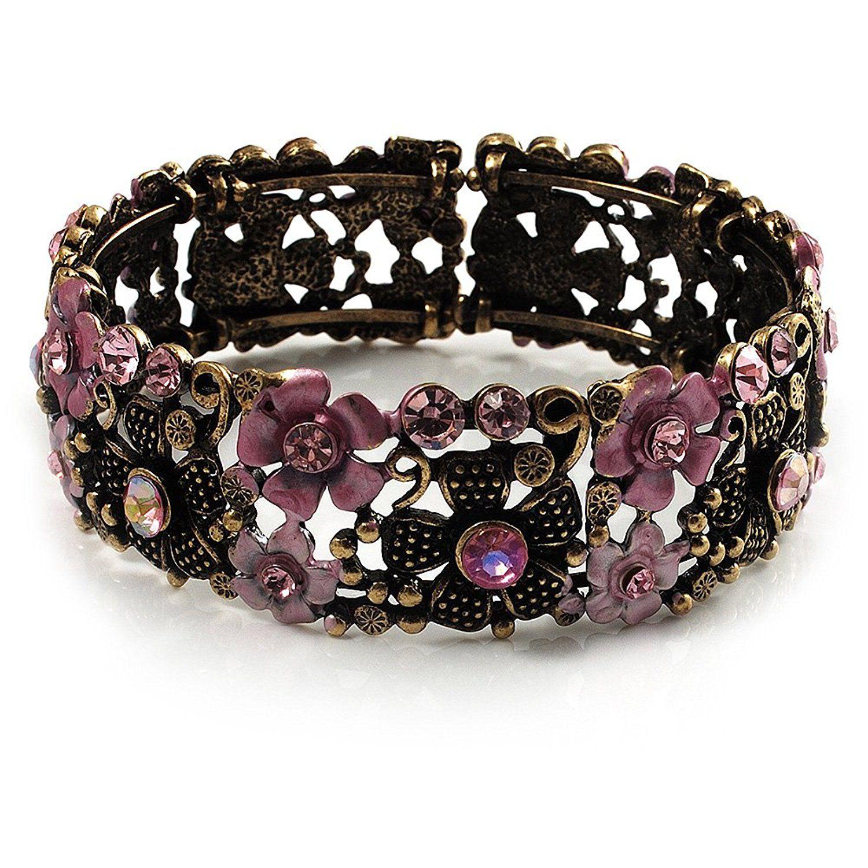 Avalaya Crystal Victorian Fashion Bangle Bracelet (Antique Silver) eS5Ct2O