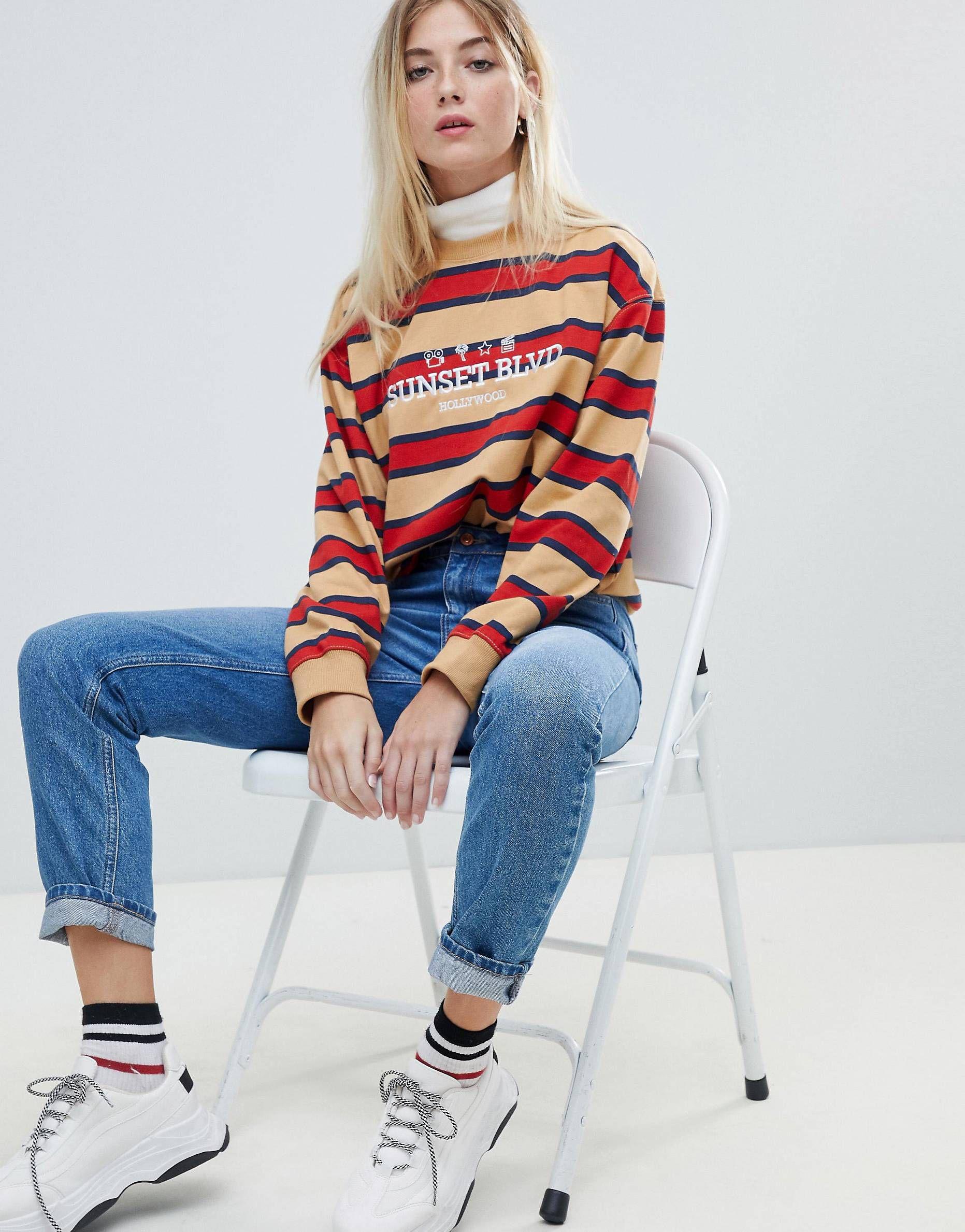 1def18c53a Daisy Street boyfriend sweatshirt with sunset boulevard embroidery ...