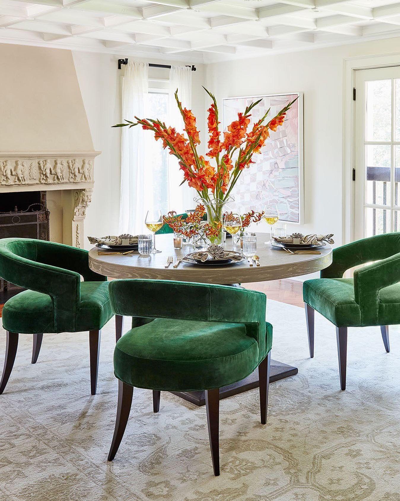 Ella accent chair emerald velvet green home decor