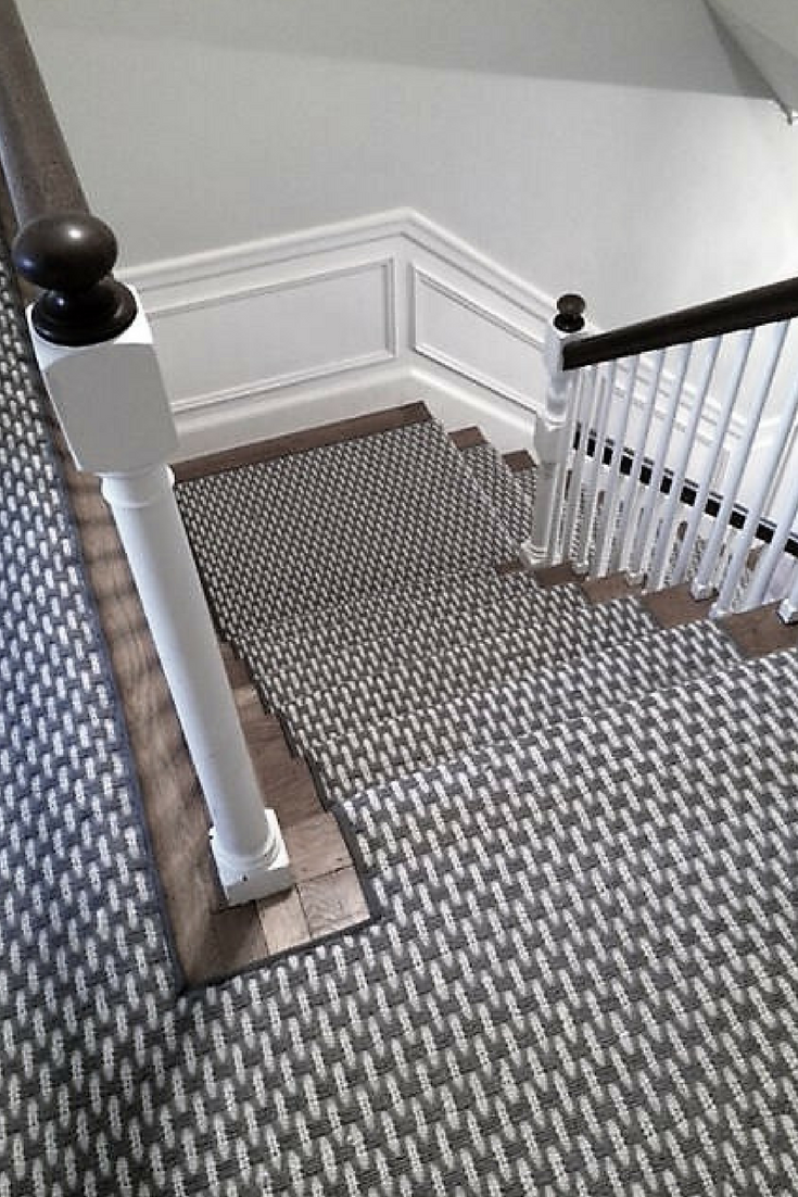 A Thick Tight Handwoven Carpet In Neutral Tones Of Grey This   Traditional Stair Carpet Runners   Bespoke   Patterned   Modern   Stair Landing   Dark Stain