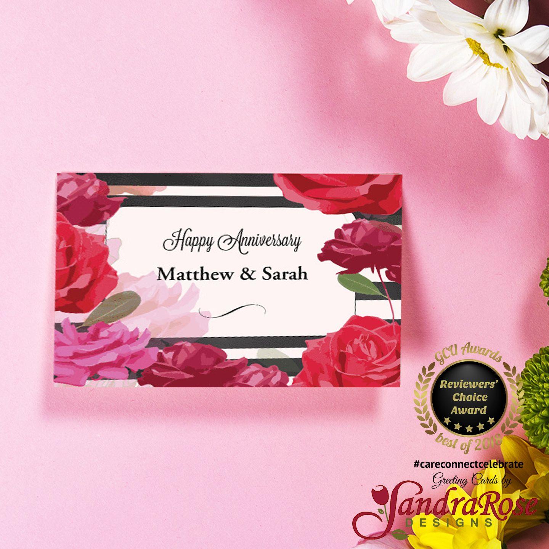 Custom Names Wedding Anniversary Roses Stripes Card Marriage Anniversary Cards Wedding Anniversary Cards Golden Wedding Anniversary Card