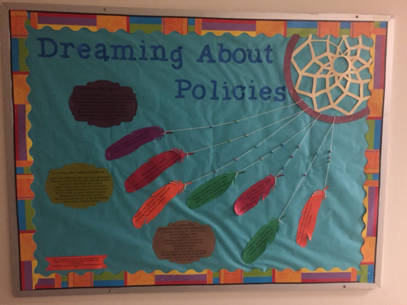 Dream Catcher Bulletin Board About Policies Goes Along With Dream Catcher Door Decs Ralife Dream Catcher Decor Creative Classroom Library Decor