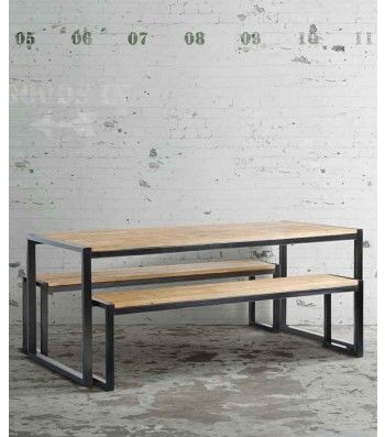 Chenier Industrial Dining Table With 2 Benches Dining Room Table
