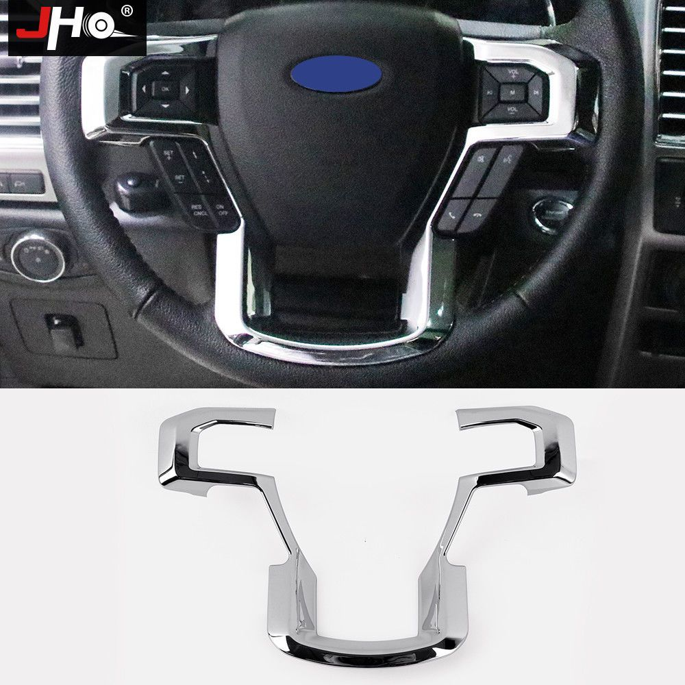 hight resolution of abs chrome accessories steering wheel frame cover trim for ford f150 2015 2018