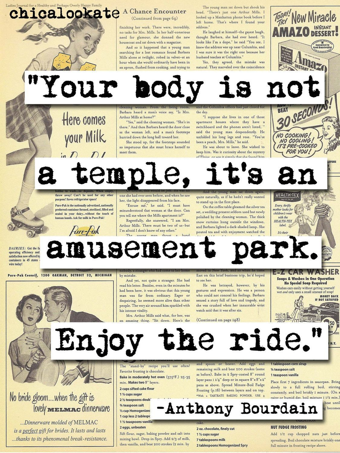 4 H Quotes Anthony Bourdaine Body Is A Temple Quote Print P146  Temple