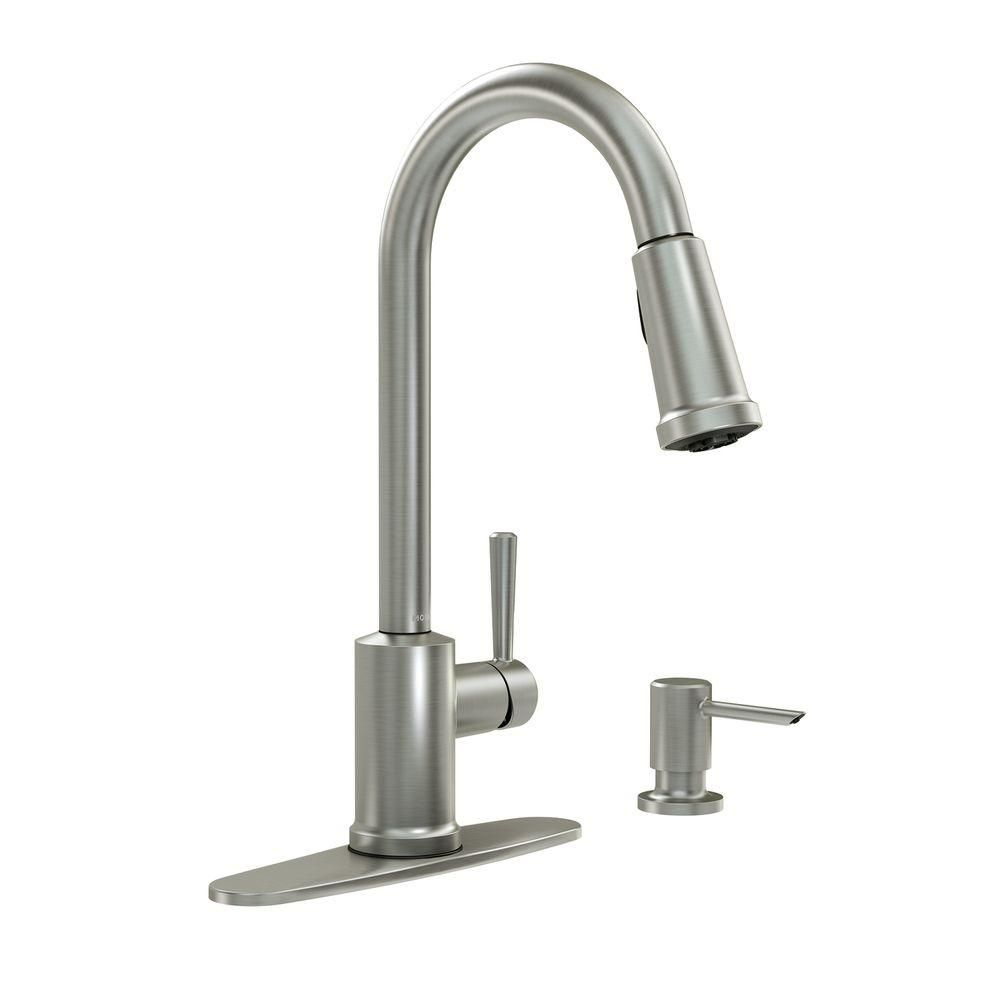 MOEN Indi Single-Handle Pull-Down Sprayer Kitchen Faucet Featuring ...