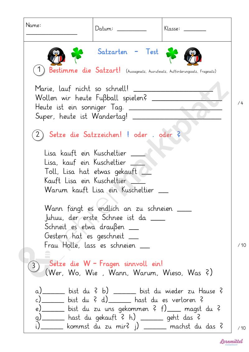 Satzarten Test Klasse 2 | Lernmittel-hausgemacht | Pinterest ...