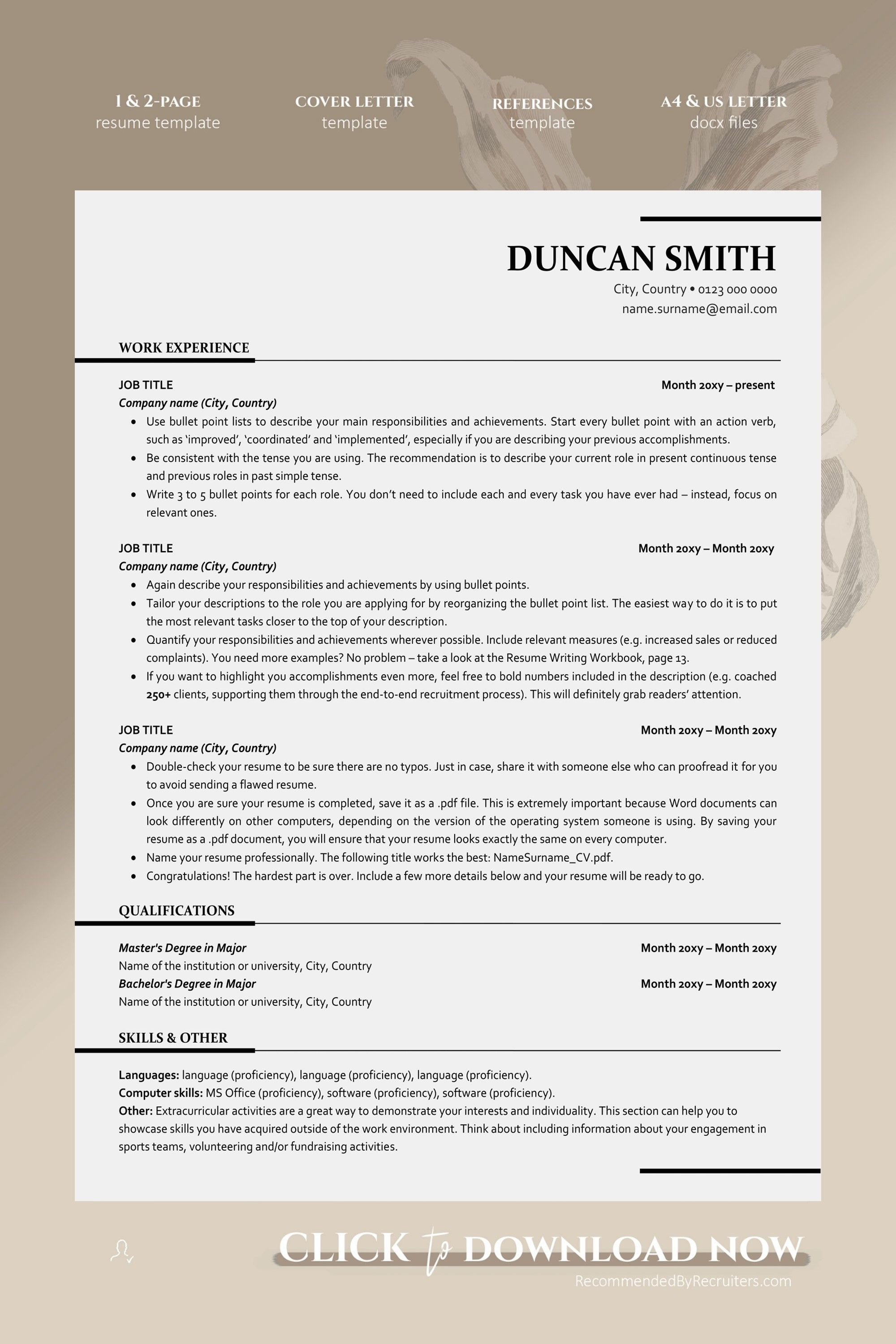 Ats Friendly Resume Template Instant Download One And Two Etsy Executive Resume Template Resume Template Professional Resume Examples