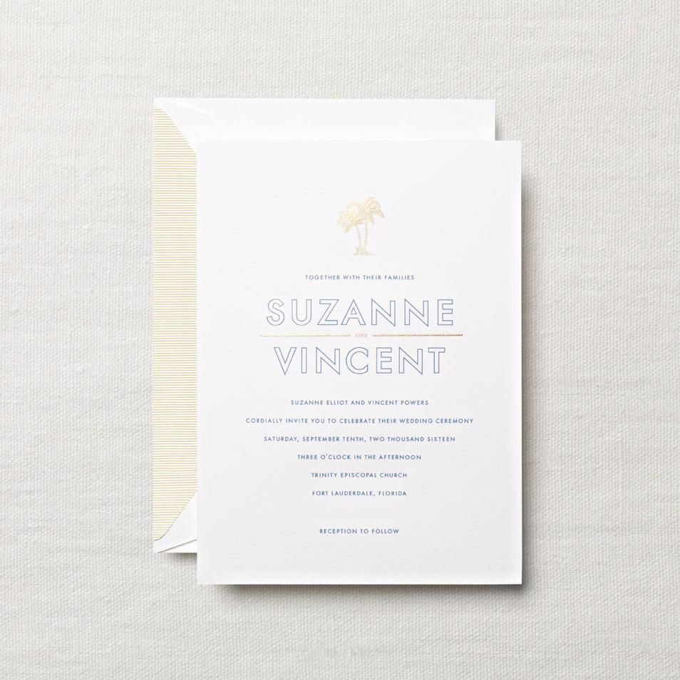 Pearl White Embassy Tropical Themed Wedding Invitation With Our
