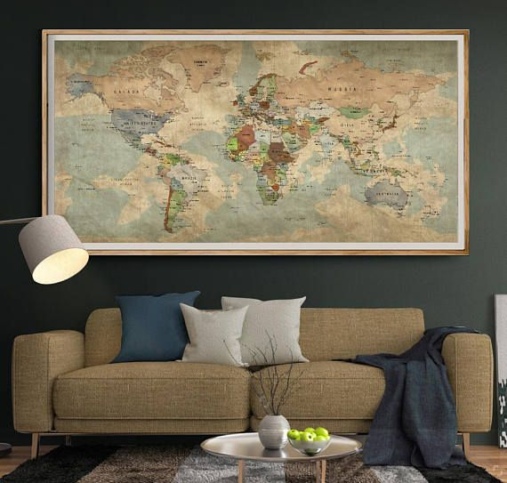 Antique World Map Push Pin Wall Art Vintage Travel Map Of World - Large antique world map poster