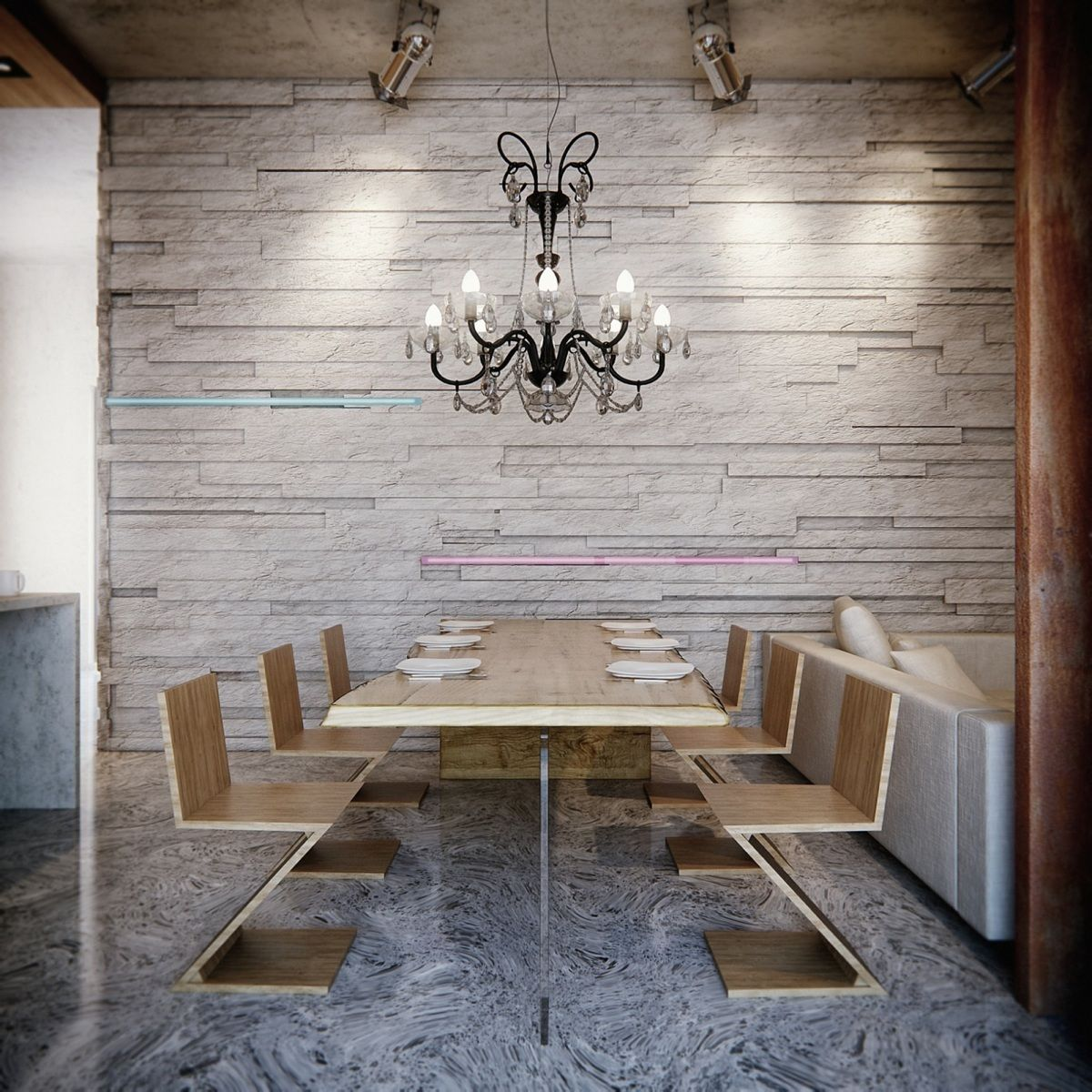 Creative Dining Chairs And A Surprisingly Classical Chandelier Make The Dining  Area Striking.