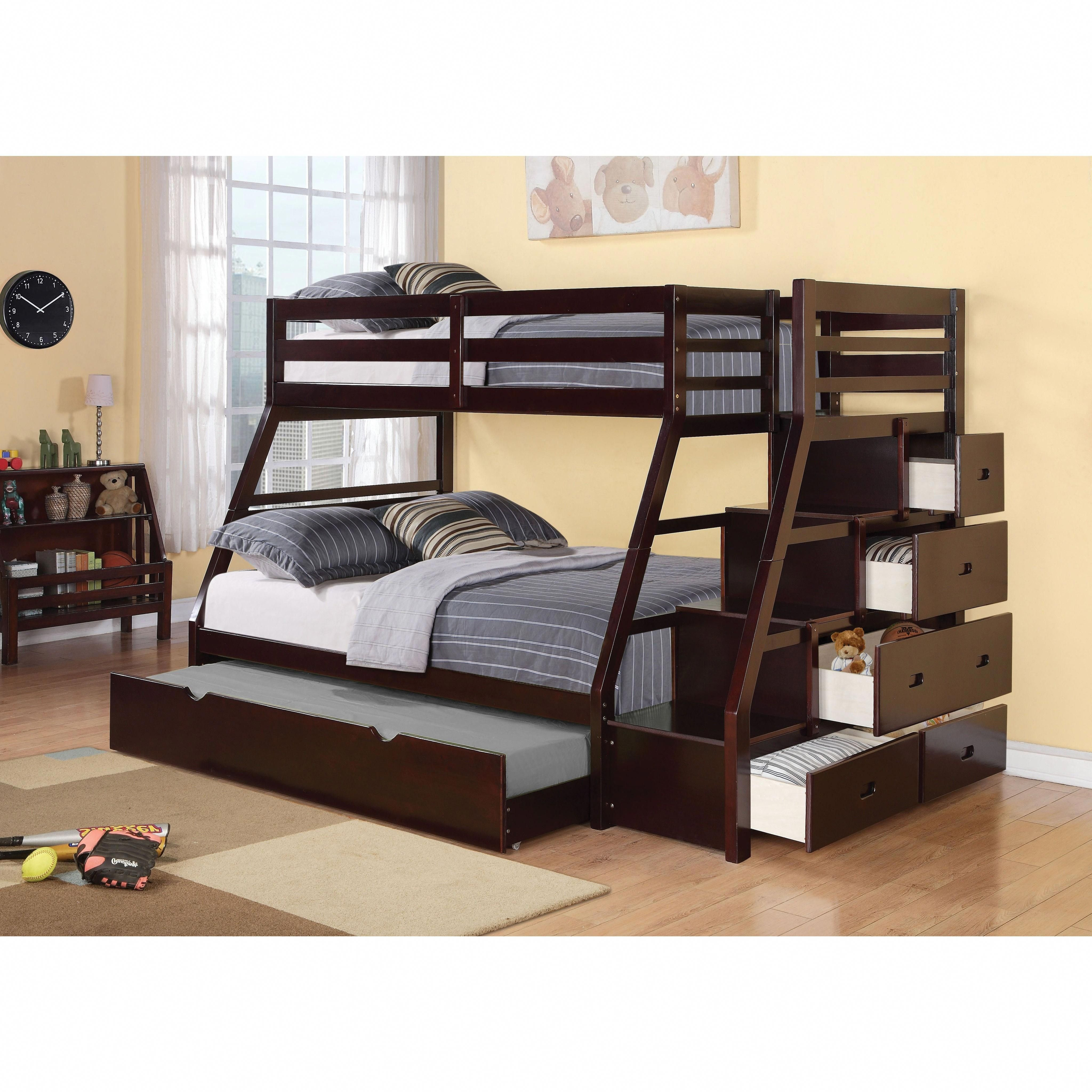 Loft bed with desk and trundle  Jason Espresso Twin over Full Bunk Bed with Storage u Trundle