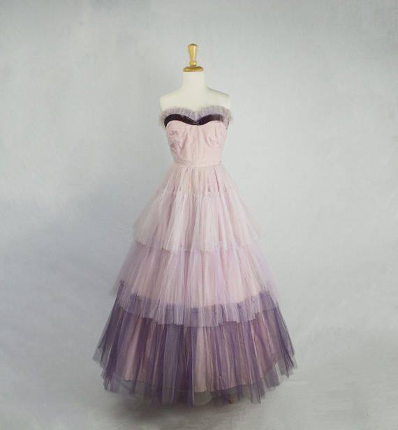 Vintage 1950s Prom Dress Cupcake Dream Pink and Violet Purple ...