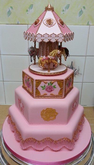 Carousel Christening Cake - Cake by Diane