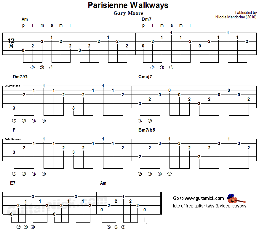 Parisienne Walkways, Gary Moore - fingerstyle guitar tab | music ...