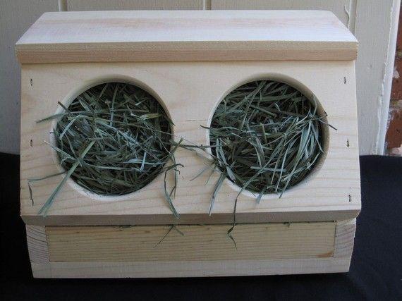 Idea: Find a wooden breadbox  cut out holes. DIY Hay Feeder for Rabbit Room!
