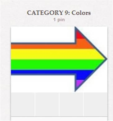"""CATEGORY 9: Colors. This particular category includes all the multicolored """"Color Me ___"""" boards as well as the several single individual color boards. The """"Color Me..."""" board at the beginning is for information about colors and color psychology, rather than for color pins per se."""