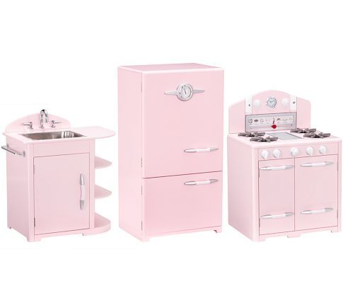 Pink Retro Kitchen Sink Icebox Oven Set Pottery Barn Kids