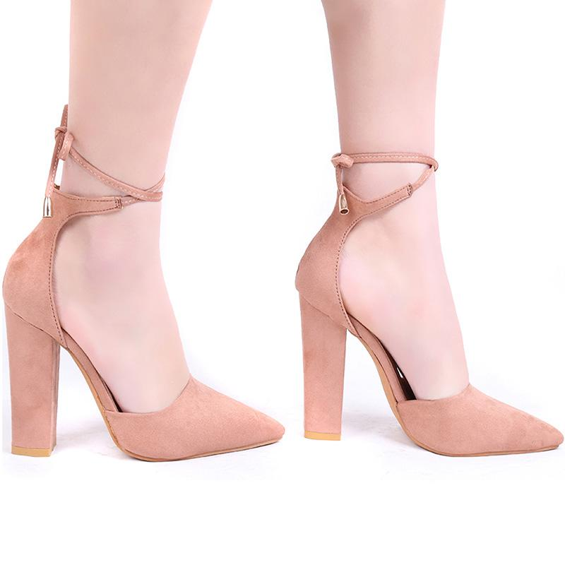 b16590c44615 Pointed toe chunky heel pumps lace up shoes