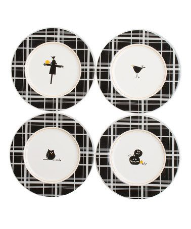Take a look at this tag Black & White Plaid Halloween Appetizer Plate Set by Boil & Bubble: Entertaining Accents on #zulily today!