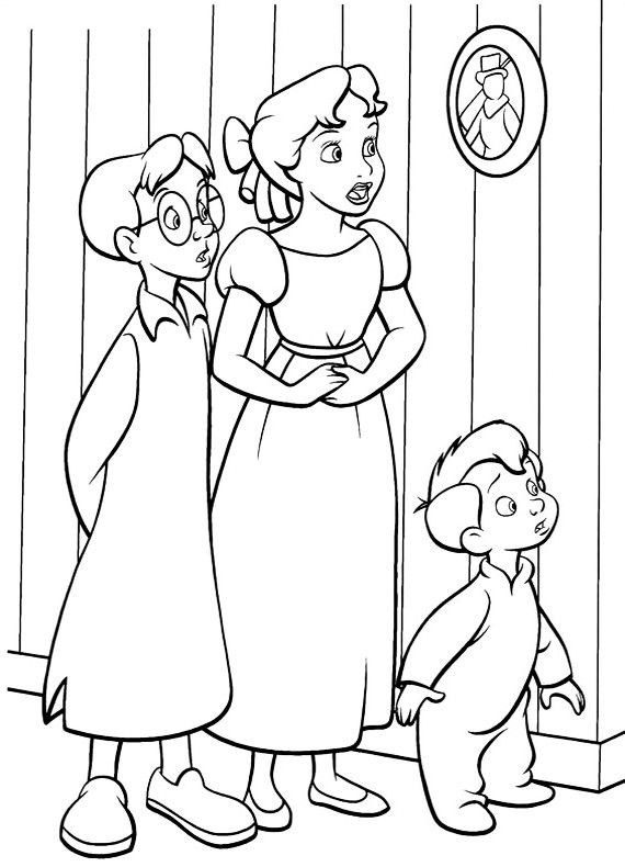 Michael Darling Peter Pan Coloring Page Peterpan Wendy Coloring