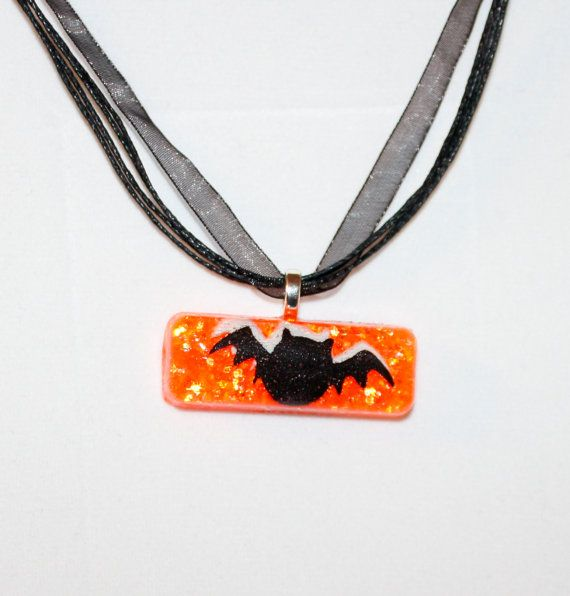Black Bat Halloween resin pendant by GreyGyrl on Etsy, $8.00