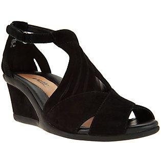 6821f28ef5bd Earth Suede Peep-Toe Wedge Sandals - Curvet