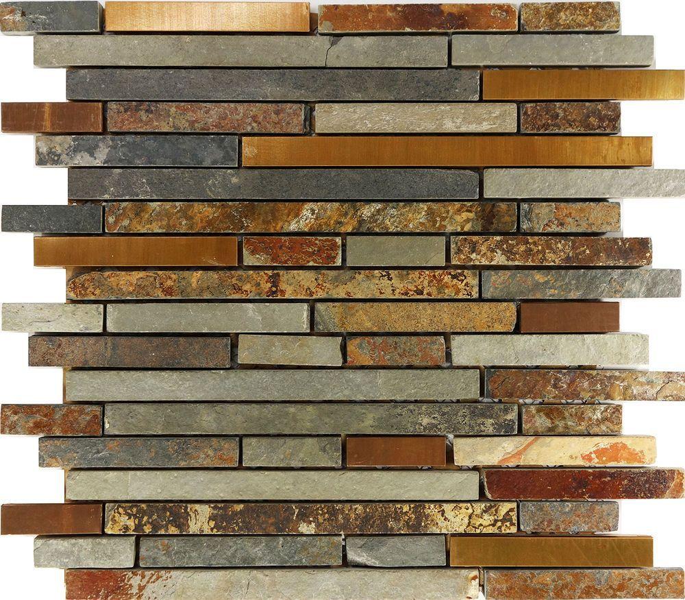 Sample rustic copper linear natural slate blend mosaic tile kitchen backsplash home garden home improvement building hardware ebay
