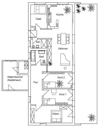 grundrisse baufritz bungalow individuelle planung 39 moderner bungalow 39 kfw effizienzhaus 70. Black Bedroom Furniture Sets. Home Design Ideas