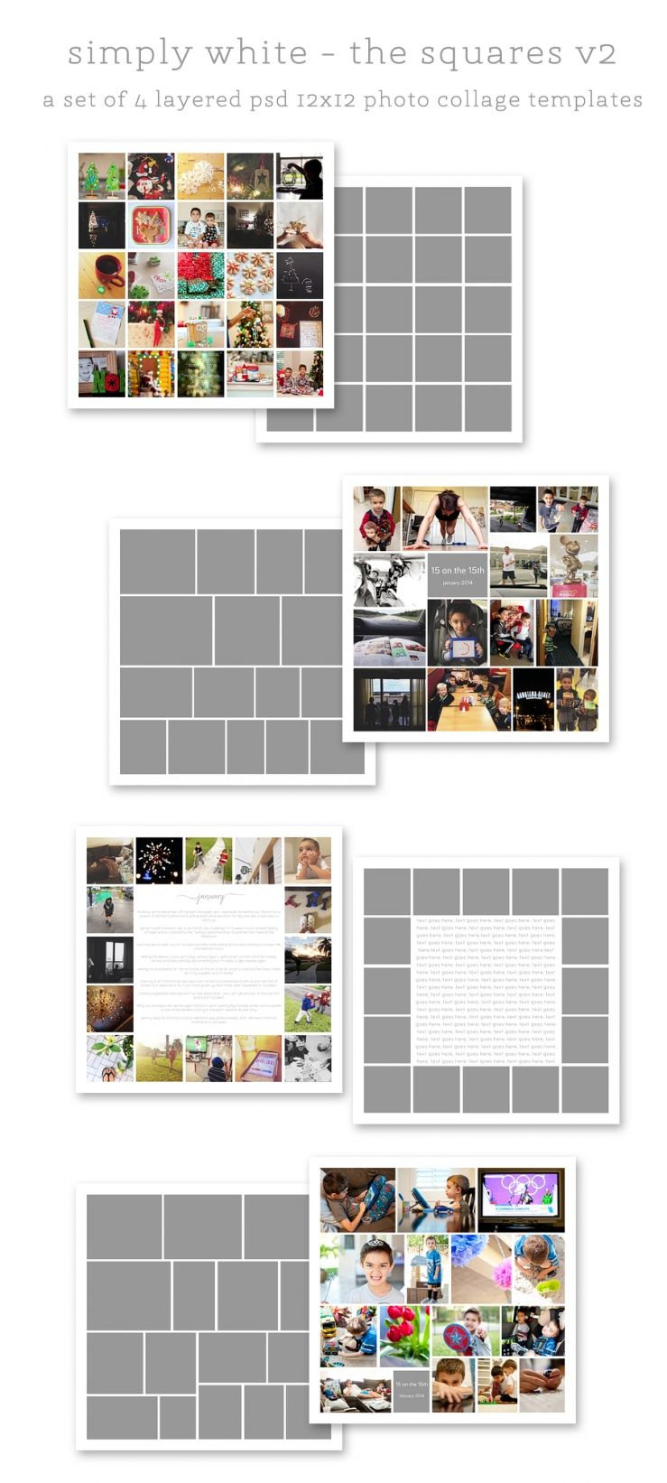 simply white squares v2 + v2r rounded 12x12 photo collage templates ...