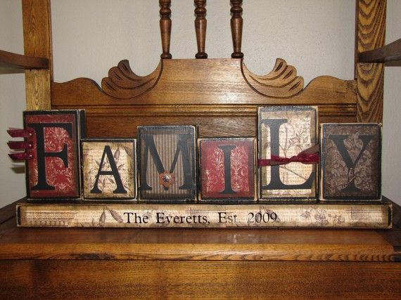 Customized Family Sign Word Blocks by PunkinSeedProduction on Etsy, $42.00