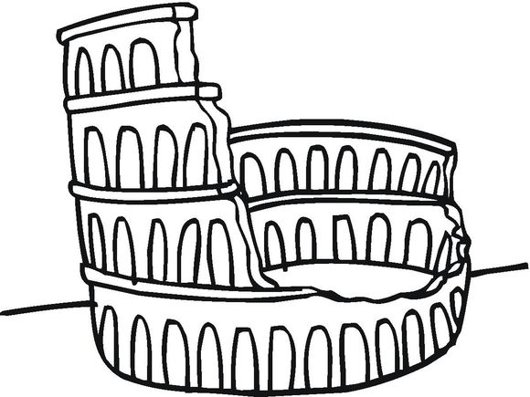 How To Draw The Colosseum For Kids Use This As An Example Easy