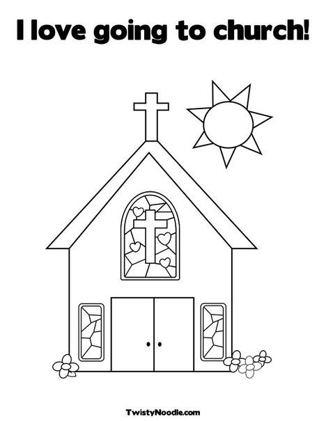 I Love Going To Church Coloring Page From TwistyNoodle.com