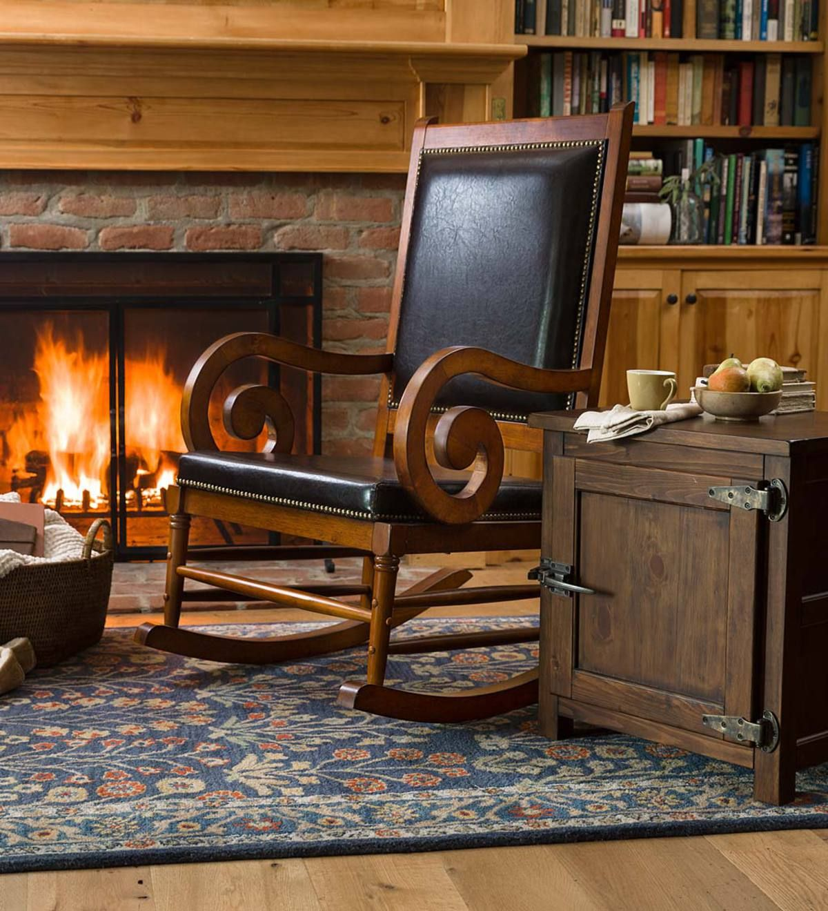 For Reading Nook Fireside Or Bedroom This Generously Sized Rocking Chair Combines Form And Function For A Superior Seat Pure Wool Rug Hearth Indoor Furniture