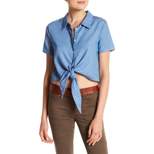 40704cc8fa79a English Factory Cropped Tie Shirt ( 25) ❤ liked on Polyvore featuring tops