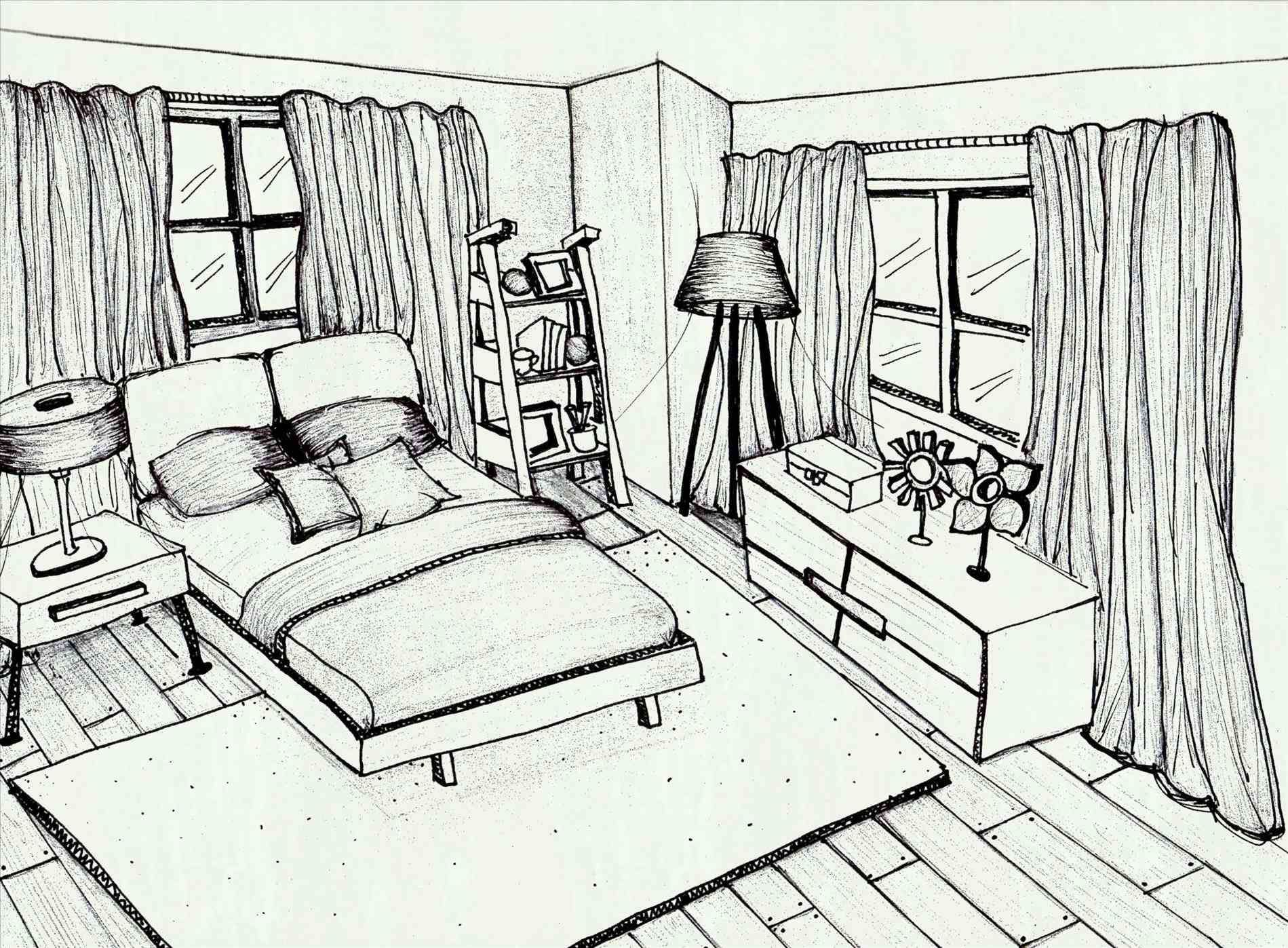 easy bedroom drawing for kids Background Drawings