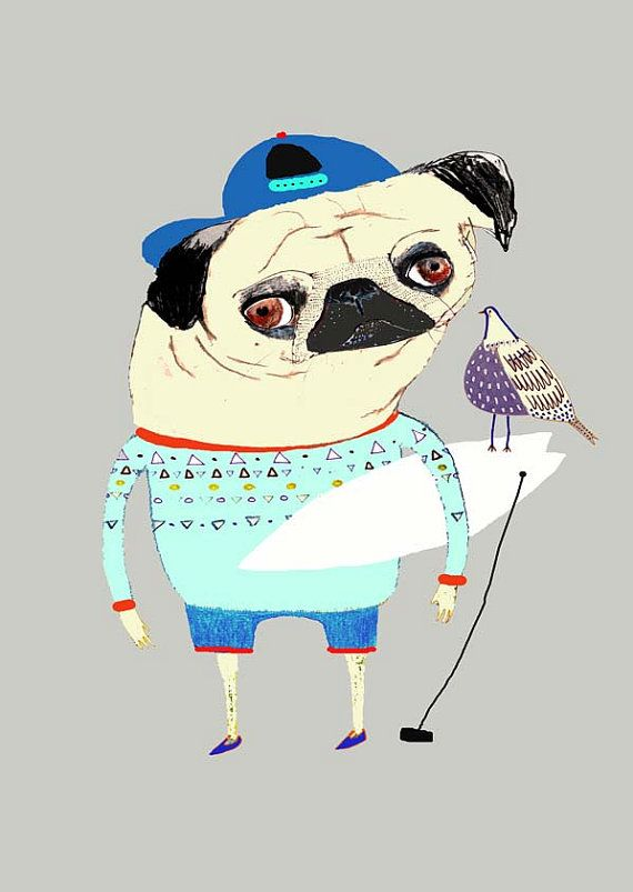 Pug Surfer And Bird Limited Edition Art Print By Ashleypercival