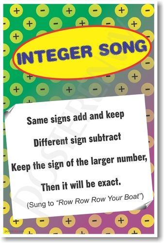 helper memory aid song rhyme poem algebra classroom integers math  helper memory aid song rhyme poem algebra classroom integers math mathematics negative positive poster school subtracting