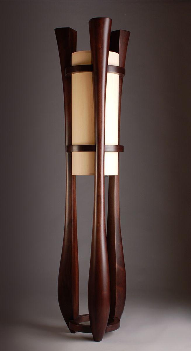 Custom Made Chronos Three Legged Walnut Floor Lamp