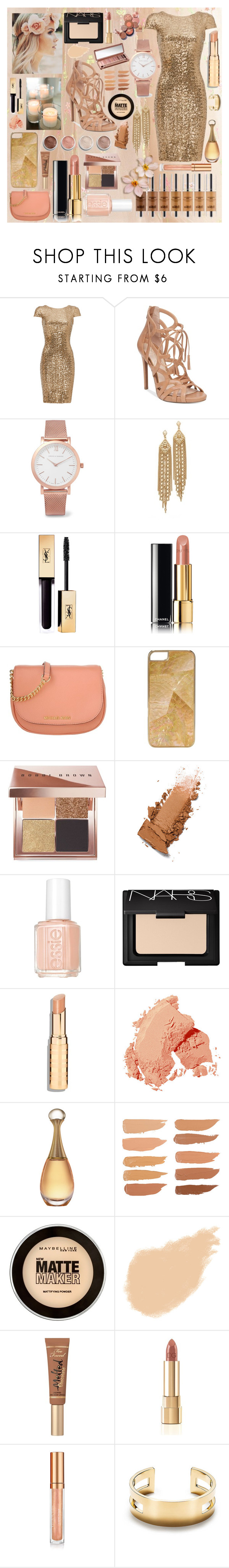 """""""Golden Blossom"""" by daisyxz ❤ liked on Polyvore featuring Badgley Mischka, Jessica Simpson, Larsson & Jennings, Capwell + Co, Chanel, Michael Kors, Rafé New York, Urban Decay, Terre Mère and Bobbi Brown Cosmetics"""