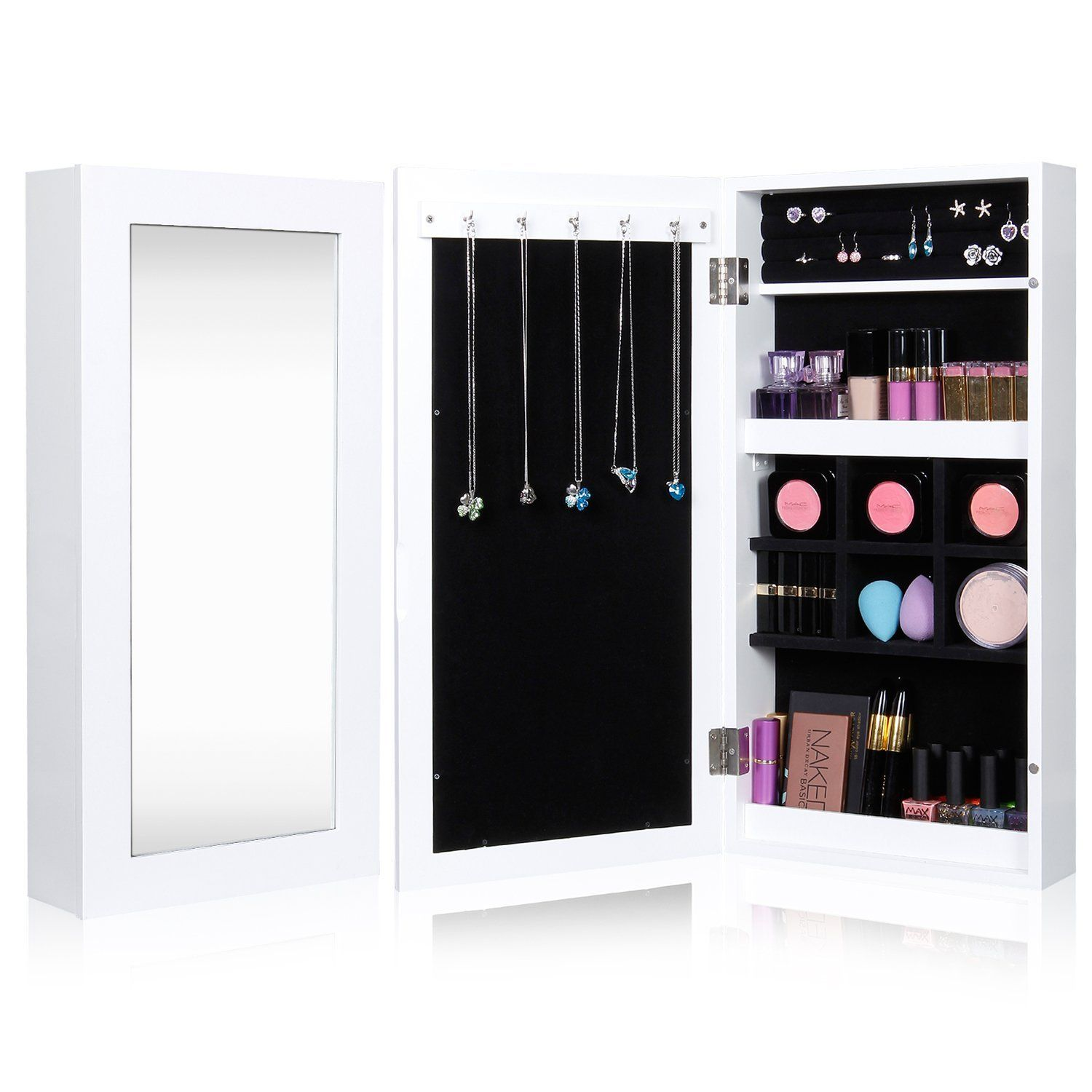 Lifewit Mirrored Jewelry Cabinet Wall Door Mounted Bedroom Armoire