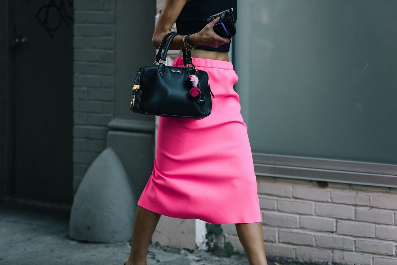 We've fallen for this cocktail skirt! Pink is definitely no longer a colour reserved for baby girls.