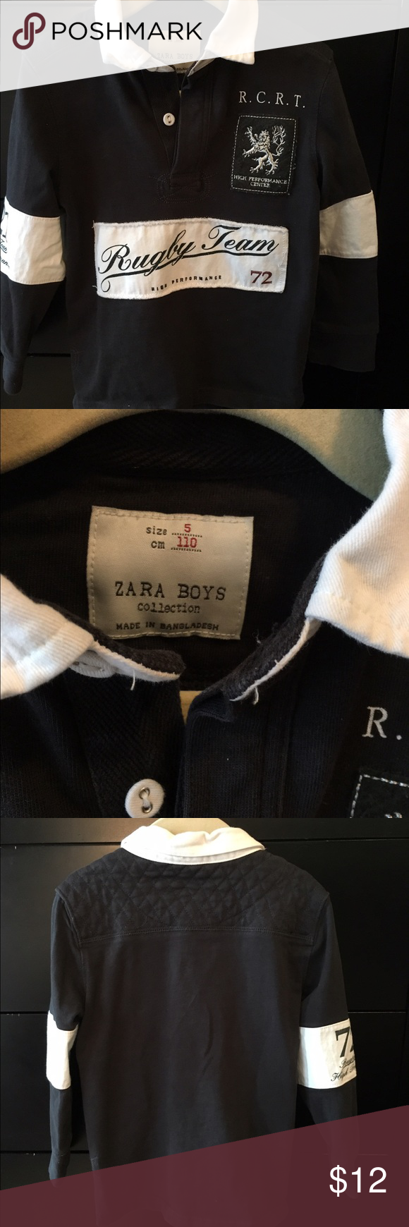 Zara size 5 rugby shirt, great condition. Really cute Zara black and white rugby shirt, size 5 Zara Shirts & Tops Tees - Long Sleeve