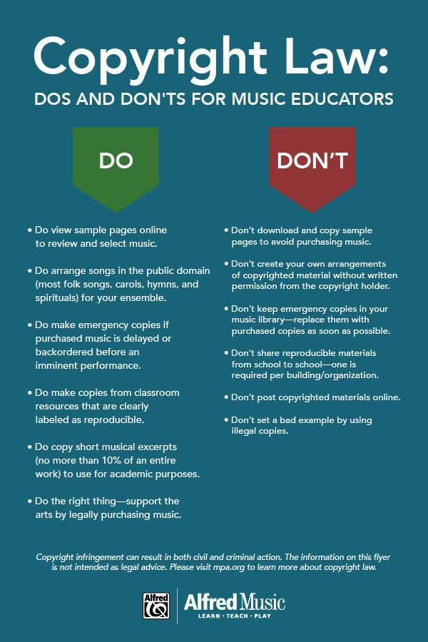The Importance Of Copyright Law Dos And Don Ts For Music Educators Infographic Music Education Folk Song Music