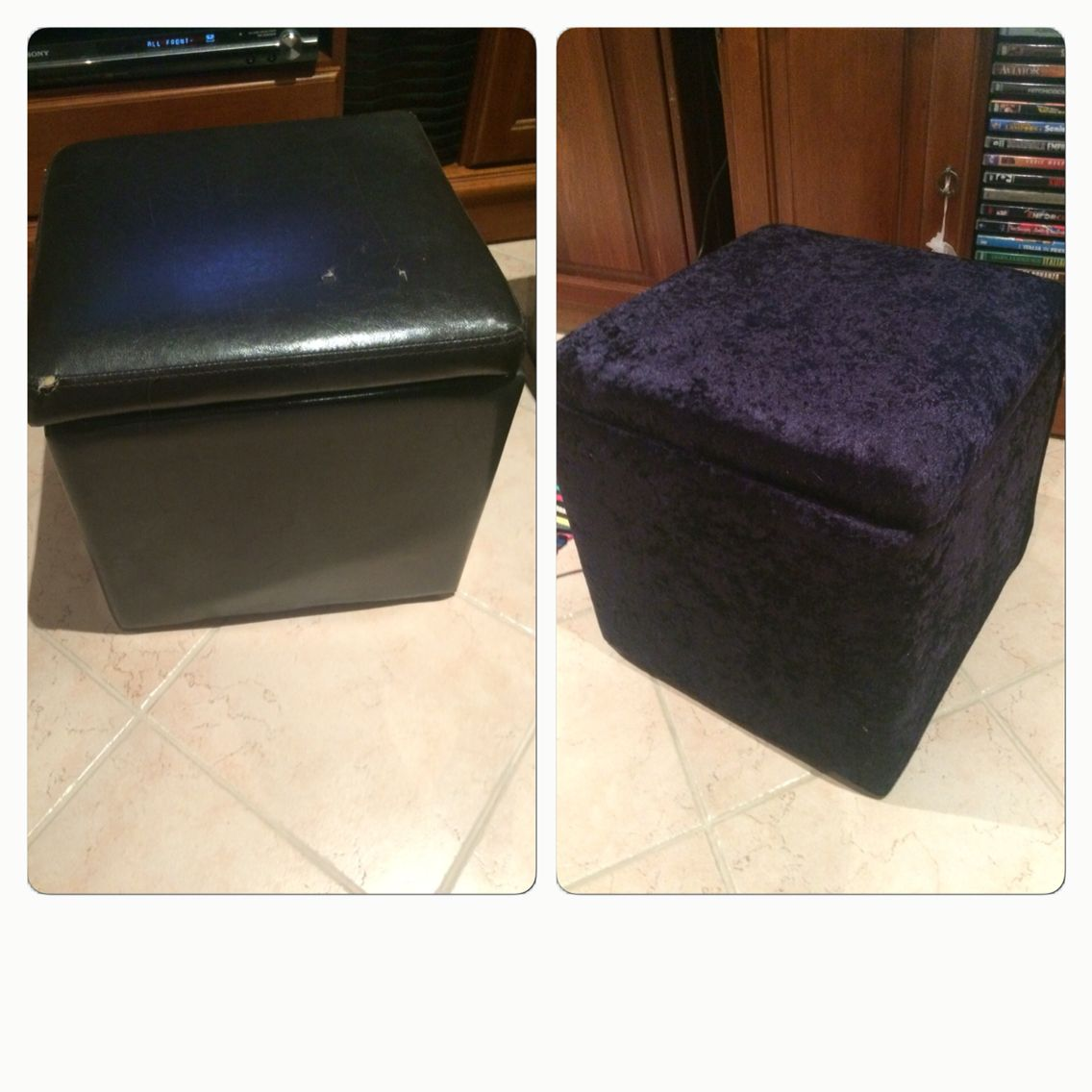 DIY. Covered a torn old pleather ottoman storage box with fabric and ...