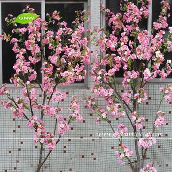 Gnw Bls020 Wholesale Cheap Artificial Cherry Blossom Branches With House Ornament