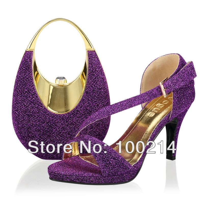 Purple Wedding Shoes With Rhinestones Free Shipping Italy Matching Shoe And Bag Set
