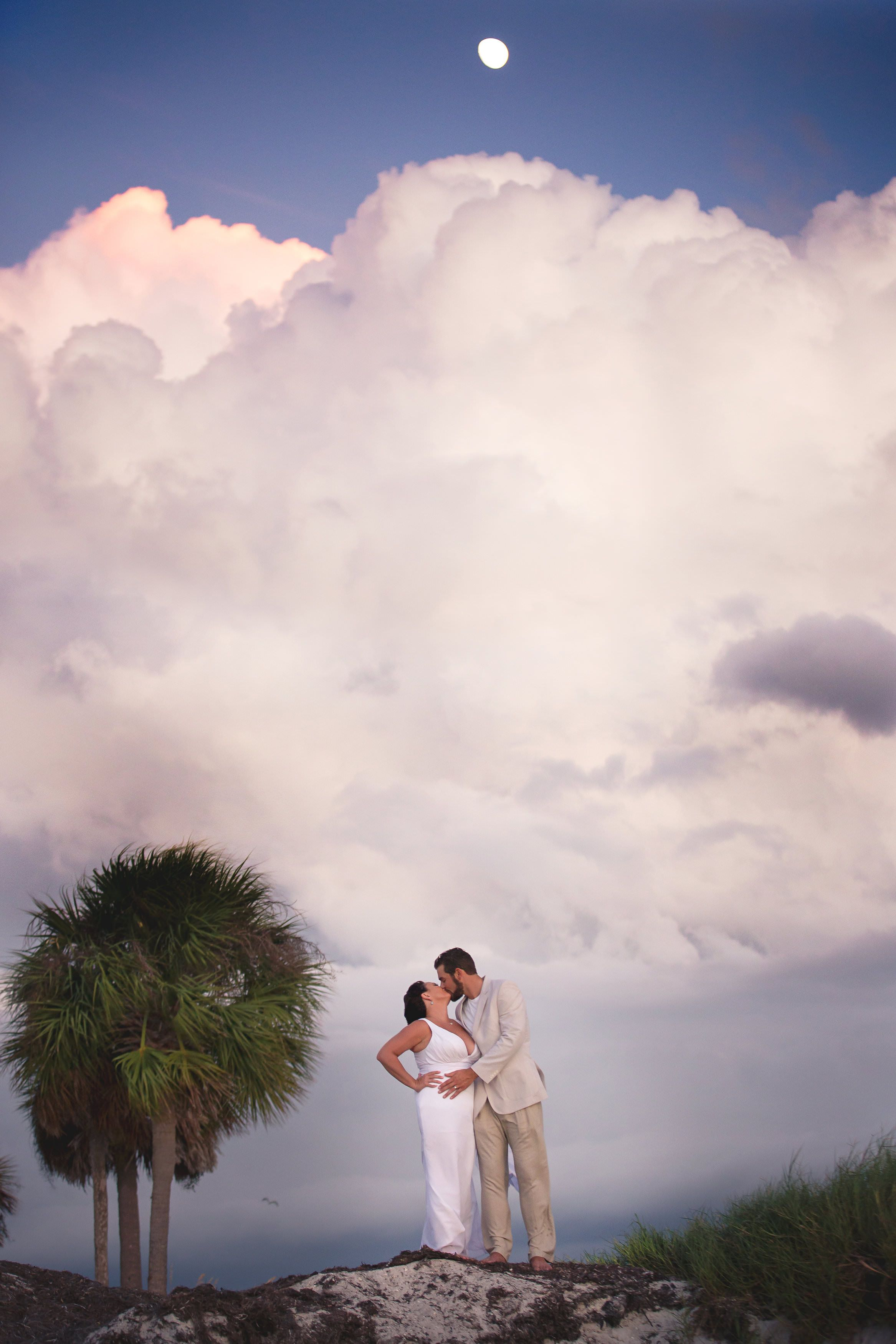 Sunset wedding Howard Park Tarpon Springs. Beach wedding