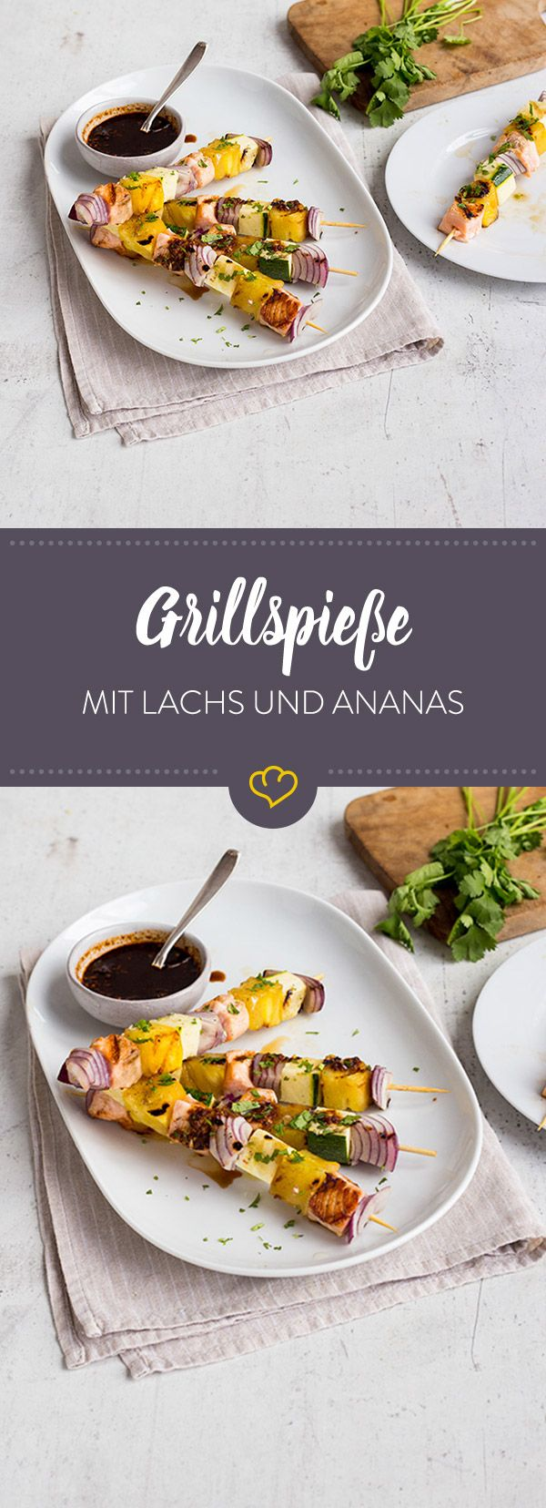 Grillspiesse Mit Lachs Und Ananas Aloha PartyTropical Party FoodsBurger RecipesSalmon